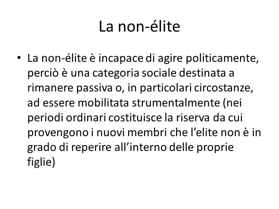 La non-élite La non-élite è incapace di agire politicamente, perciò è una categoria sociale destinata a rimanere passiva o, in particolari circostanze