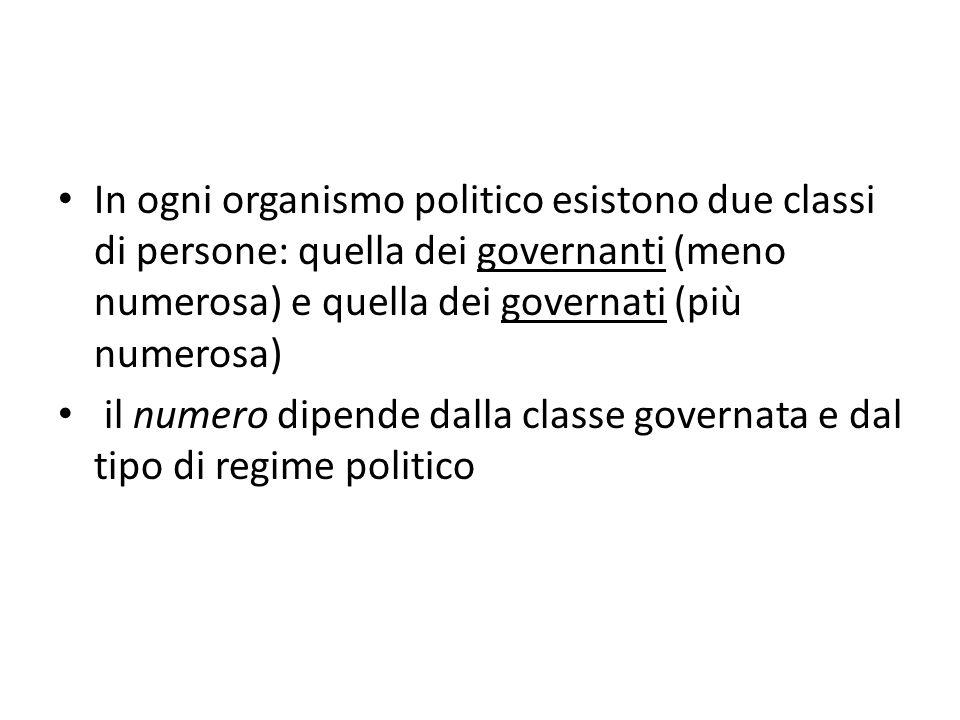 In ogni organismo politico esistono due classi di persone: quella dei governanti (meno numerosa) e quella dei governati (più numerosa) il numero dipen