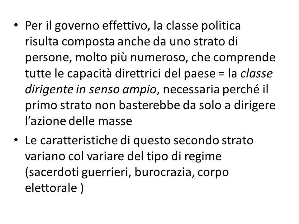 Per il governo effettivo, la classe politica risulta composta anche da uno strato di persone, molto più numeroso, che comprende tutte le capacità dire
