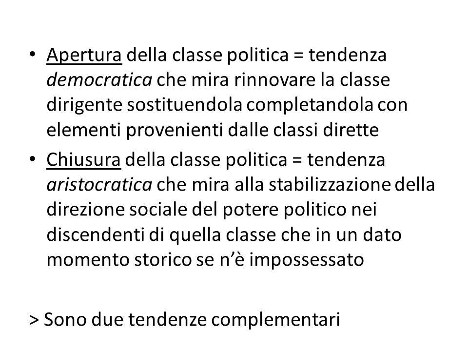 Apertura della classe politica = tendenza democratica che mira rinnovare la classe dirigente sostituendola completandola con elementi provenienti dall