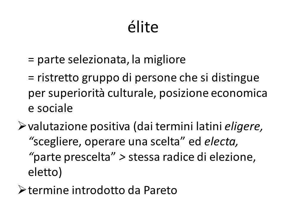 élite = parte selezionata, la migliore = ristretto gruppo di persone che si distingue per superiorità culturale, posizione economica e sociale valutaz