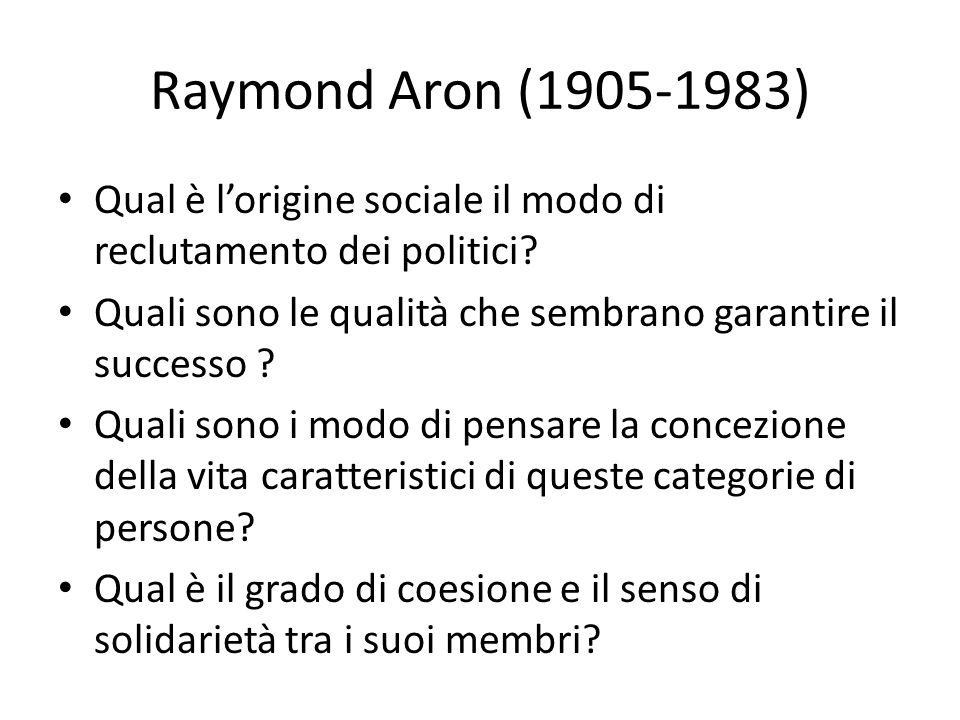 Raymond Aron (1905-1983) Qual è lorigine sociale il modo di reclutamento dei politici? Quali sono le qualità che sembrano garantire il successo ? Qual