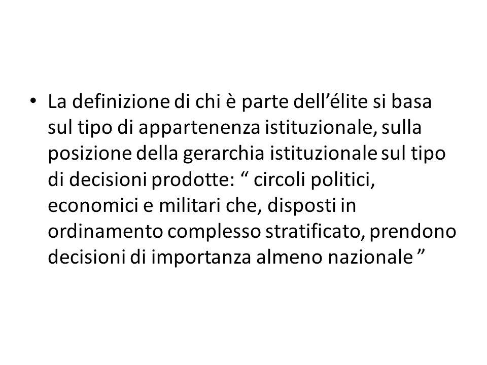 La definizione di chi è parte dellélite si basa sul tipo di appartenenza istituzionale, sulla posizione della gerarchia istituzionale sul tipo di deci