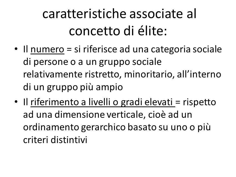 caratteristiche associate al concetto di élite: Il numero = si riferisce ad una categoria sociale di persone o a un gruppo sociale relativamente ristr