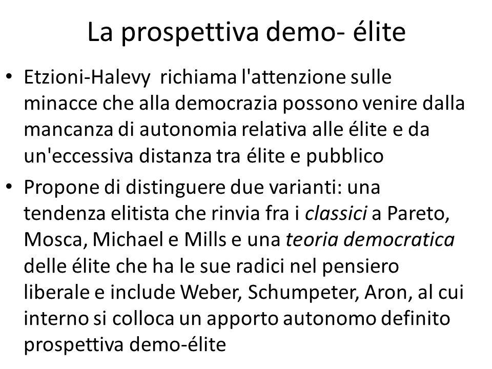 La prospettiva demo- élite Etzioni-Halevy richiama l'attenzione sulle minacce che alla democrazia possono venire dalla mancanza di autonomia relativa