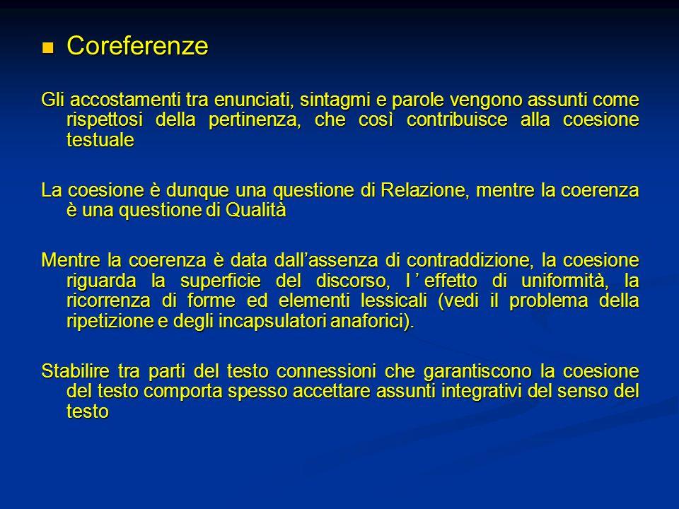 Coreferenze Coreferenze Gli accostamenti tra enunciati, sintagmi e parole vengono assunti come rispettosi della pertinenza, che così contribuisce alla