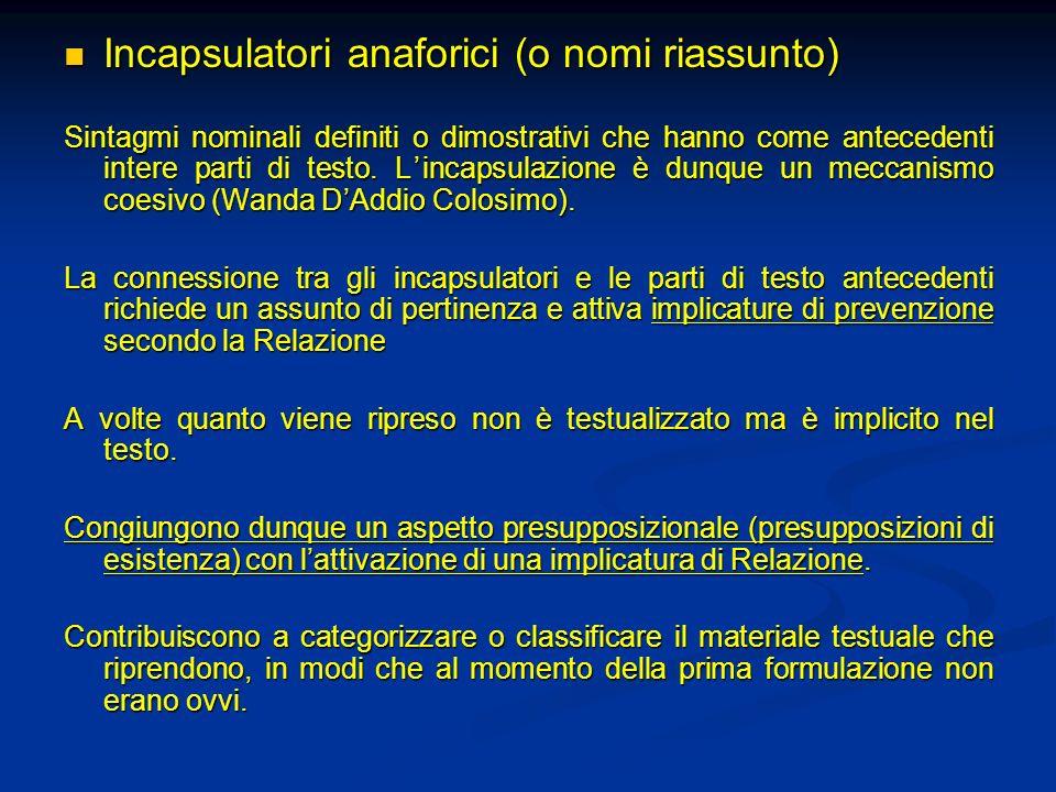 Incapsulatori anaforici (o nomi riassunto) Incapsulatori anaforici (o nomi riassunto) Sintagmi nominali definiti o dimostrativi che hanno come anteced