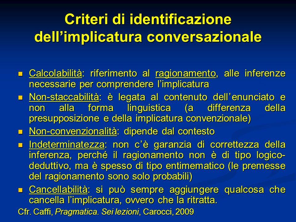 Criteri di identificazione dellimplicatura conversazionale Calcolabilità: riferimento al ragionamento, alle inferenze necessarie per comprendere limpl