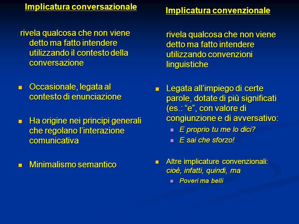 Implicatura conversazionale rivela qualcosa che non viene detto ma fatto intendere utilizzando il contesto della conversazione rivela qualcosa che non