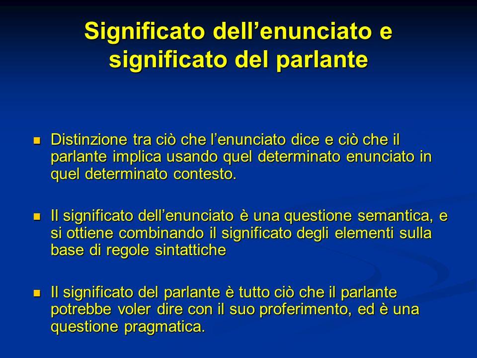 Significato dellenunciato e significato del parlante Distinzione tra ciò che lenunciato dice e ciò che il parlante implica usando quel determinato enu