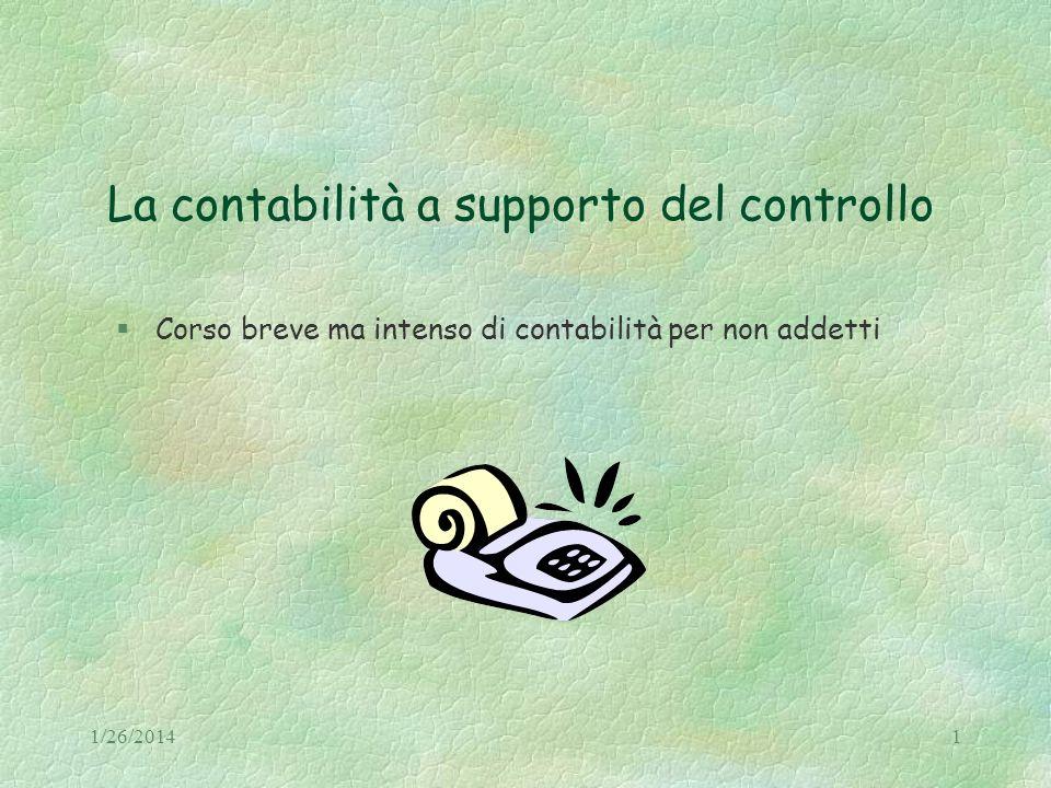 1/26/20141 La contabilità a supporto del controllo §Corso breve ma intenso di contabilità per non addetti