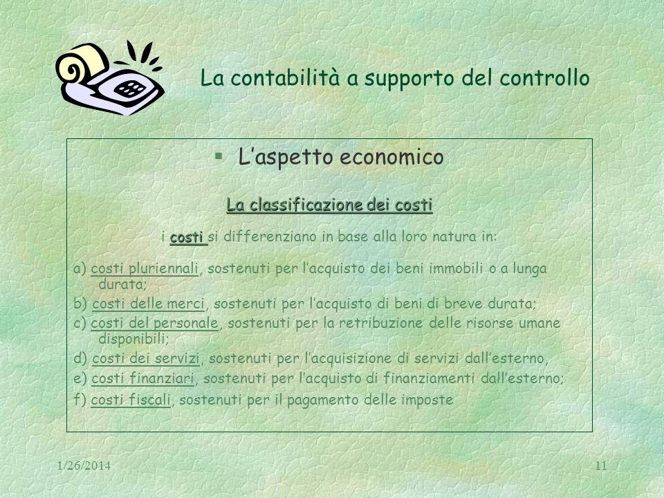 1/26/201411 La contabilità a supporto del controllo Laspetto economico La classificazione dei costi costi i costi si differenziano in base alla loro n