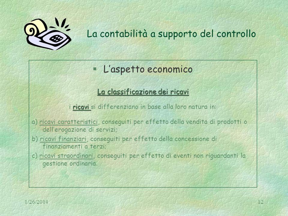 1/26/201412 La contabilità a supporto del controllo Laspetto economico La classificazione dei ricavi ricavi i ricavi si differenziano in base alla lor