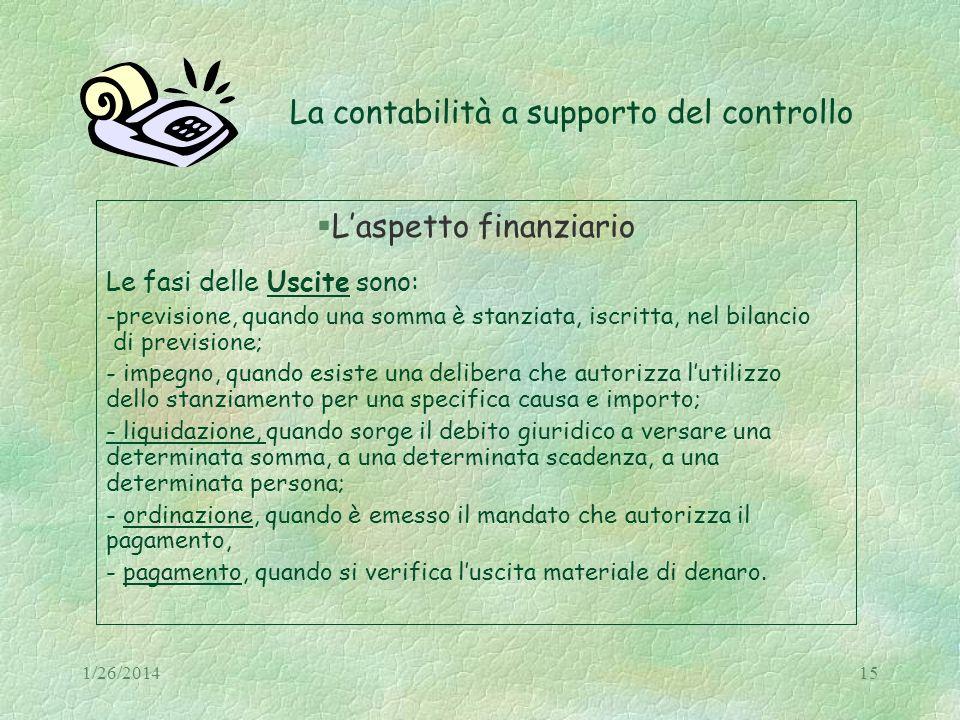 1/26/201415 La contabilità a supporto del controllo Laspetto finanziario Le fasi delle Uscite sono: -previsione, quando una somma è stanziata, iscritt