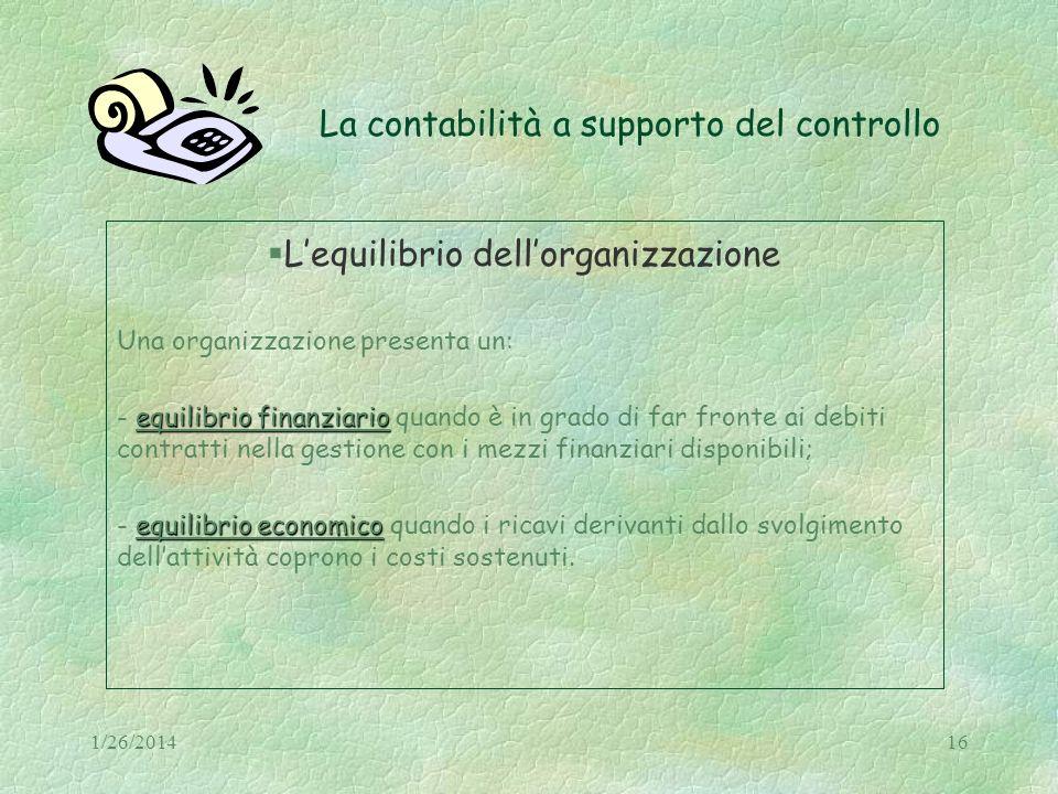 1/26/201416 La contabilità a supporto del controllo Lequilibrio dellorganizzazione Una organizzazione presenta un: equilibrio finanziario - equilibrio