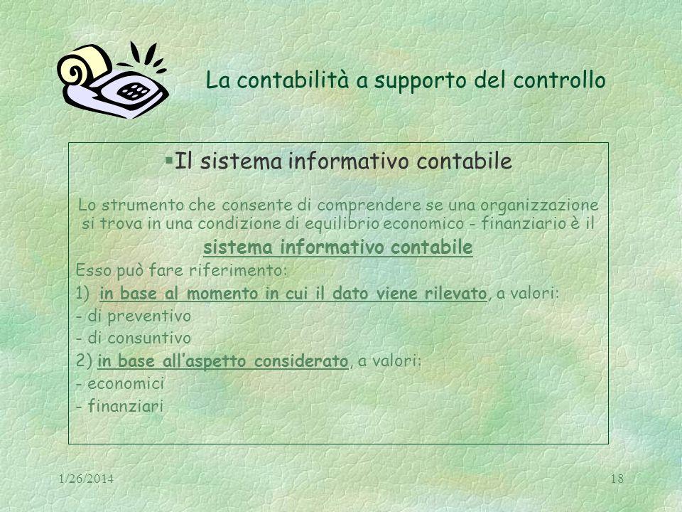1/26/201418 La contabilità a supporto del controllo Il sistema informativo contabile Lo strumento che consente di comprendere se una organizzazione si
