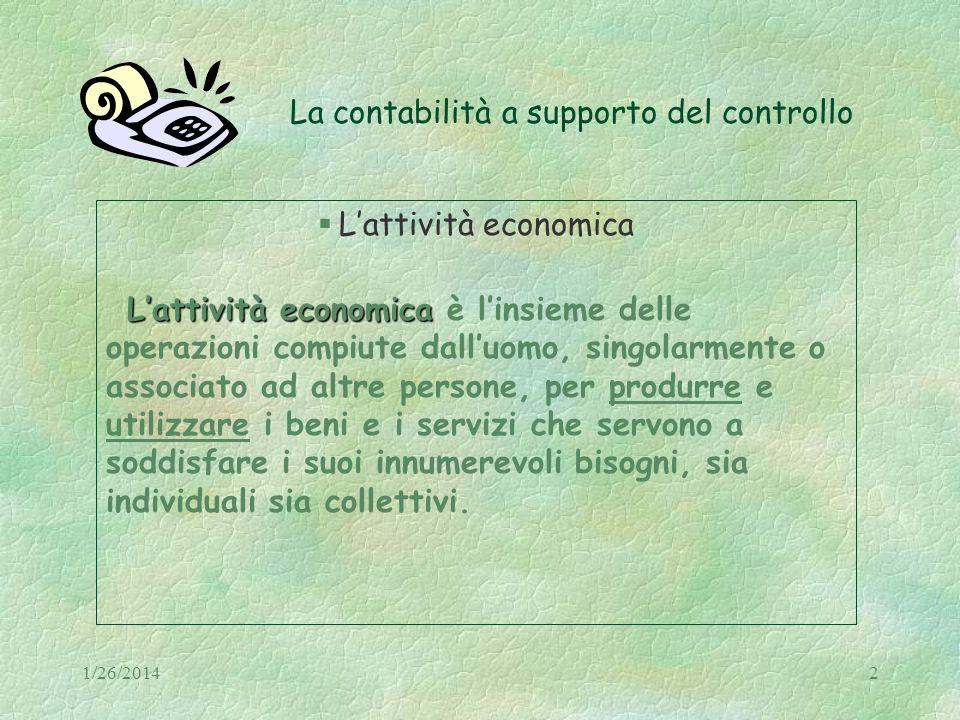 1/26/20142 La contabilità a supporto del controllo Lattività economica Lattività economica Lattività economica è linsieme delle operazioni compiute da