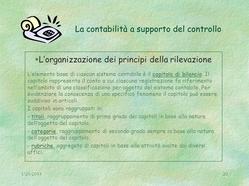 1/26/201420 La contabilità a supporto del controllo Lorganizzazione dei principi della rilevazione Lelemento base di ciascun sistema contabile è il ca