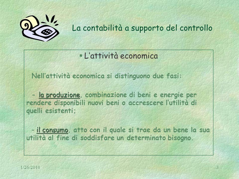 1/26/201434 La contabilità a supporto del controllo Caratteristiche dei conti I conti economici Le due sezioni funzionano alternativamente COSTI (DARE) (AVERE) rettifica dei costi costi sostenuti (DARE) RICAVI (AVERE) ricavi conseguitirettifica dei ricavi