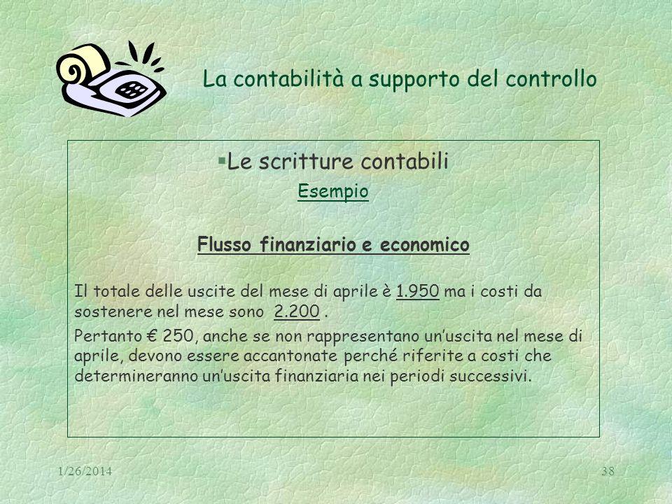1/26/201438 La contabilità a supporto del controllo Le scritture contabili Esempio Flusso finanziario e economico Il totale delle uscite del mese di a