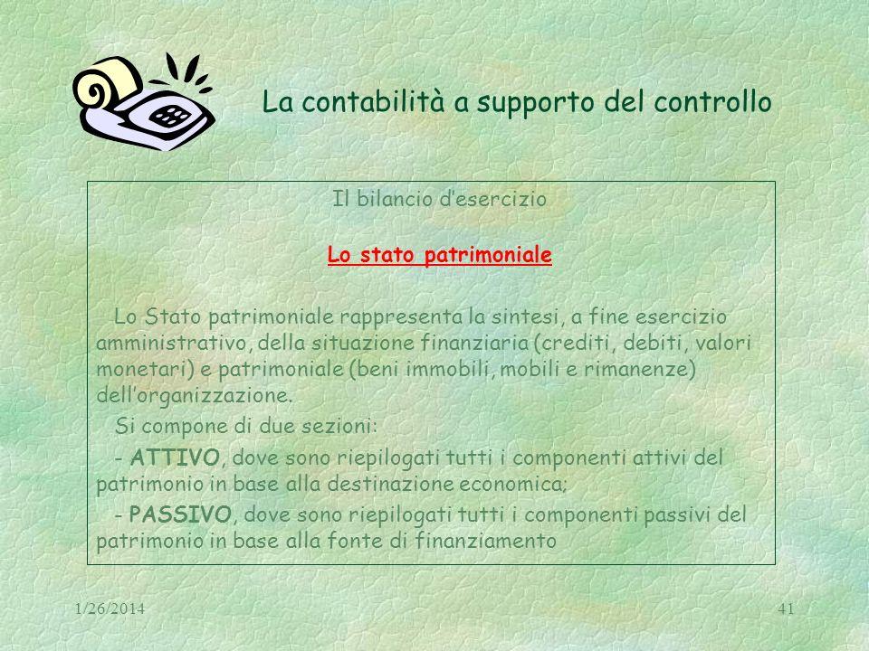 1/26/201441 La contabilità a supporto del controllo Il bilancio desercizio Lo stato patrimoniale Lo Stato patrimoniale rappresenta la sintesi, a fine