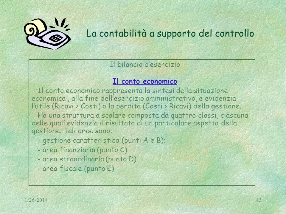 1/26/201443 La contabilità a supporto del controllo Il bilancio desercizio Il conto economico Il conto economico rappresenta la sintesi della situazio