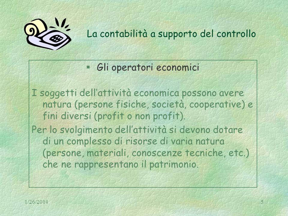 1/26/20145 La contabilità a supporto del controllo Gli operatori economici I soggetti dellattività economica possono avere natura (persone fisiche, so