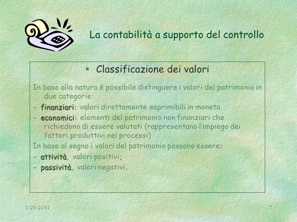 1/26/20147 La contabilità a supporto del controllo Classificazione dei valori In base alla natura è possibile distinguere i valori del patrimonio in d