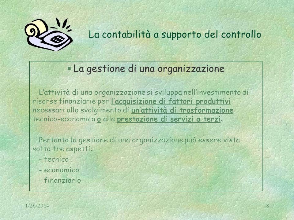 1/26/20148 La contabilità a supporto del controllo La gestione di una organizzazione Lattività di una organizzazione si sviluppa nellinvestimento di r