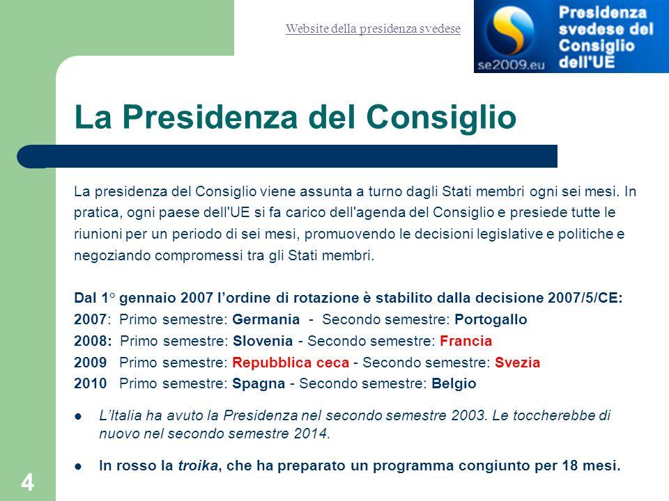5 Le formazioni del Consiglio Il Consiglio è composto dai ministri degli Stati membri.