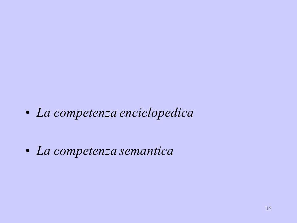15 La competenza enciclopedica La competenza semantica