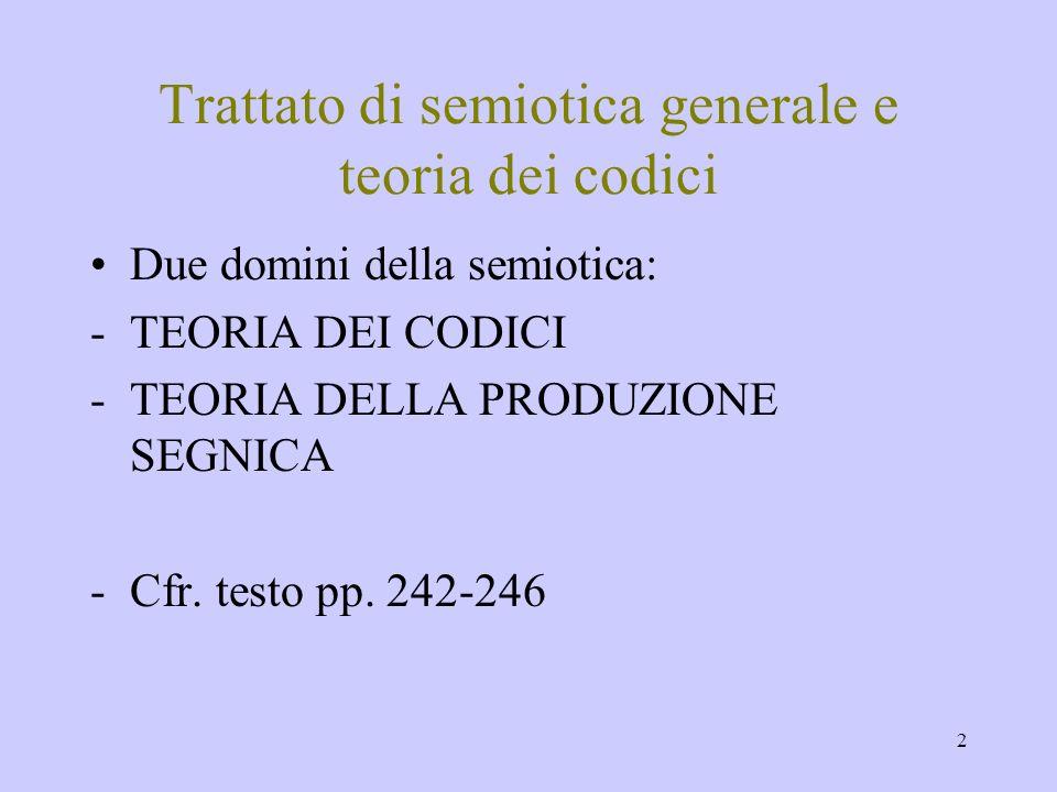 2 Trattato di semiotica generale e teoria dei codici Due domini della semiotica: -TEORIA DEI CODICI -TEORIA DELLA PRODUZIONE SEGNICA -Cfr. testo pp. 2