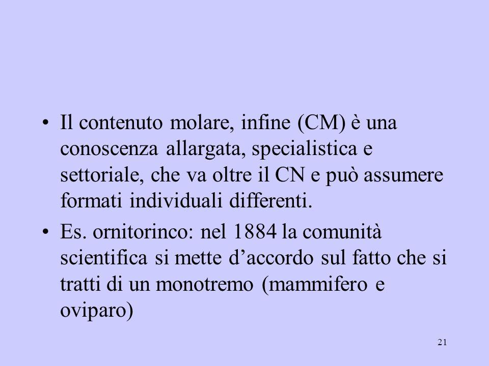 21 Il contenuto molare, infine (CM) è una conoscenza allargata, specialistica e settoriale, che va oltre il CN e può assumere formati individuali diff