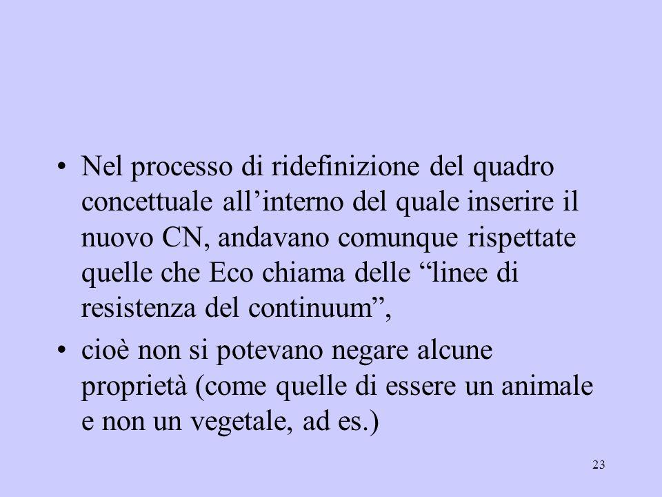 23 Nel processo di ridefinizione del quadro concettuale allinterno del quale inserire il nuovo CN, andavano comunque rispettate quelle che Eco chiama