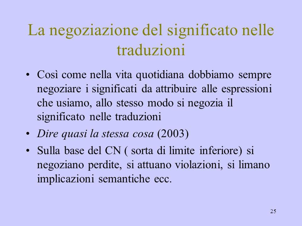 25 La negoziazione del significato nelle traduzioni Così come nella vita quotidiana dobbiamo sempre negoziare i significati da attribuire alle espress