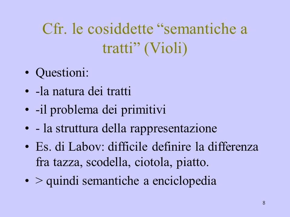 8 Cfr. le cosiddette semantiche a tratti (Violi) Questioni: -la natura dei tratti -il problema dei primitivi - la struttura della rappresentazione Es.