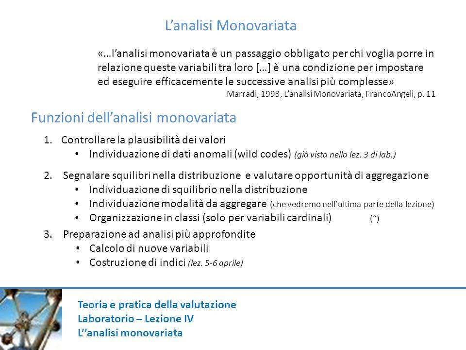 Teoria e pratica della valutazione Laboratorio – Lezione IV Lanalisi monovariata Lanalisi Monovariata «…lanalisi monovariata è un passaggio obbligato