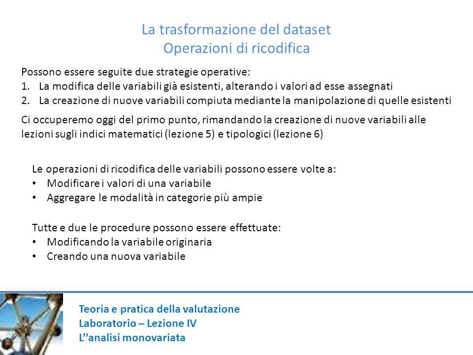 La trasformazione del dataset Operazioni di ricodifica Possono essere seguite due strategie operative: 1.La modifica delle variabili già esistenti, al