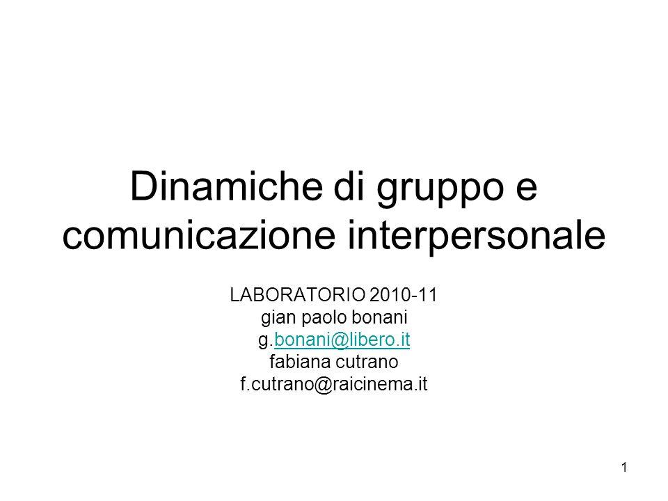 1 Dinamiche di gruppo e comunicazione interpersonale LABORATORIO 2010-11 gian paolo bonani g.bonani@libero.itbonani@libero.it fabiana cutrano f.cutran