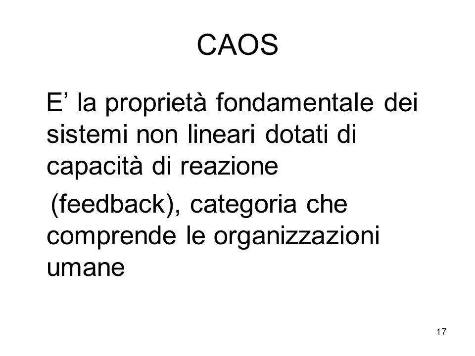 17 CAOS E la proprietà fondamentale dei sistemi non lineari dotati di capacità di reazione (feedback), categoria che comprende le organizzazioni umane