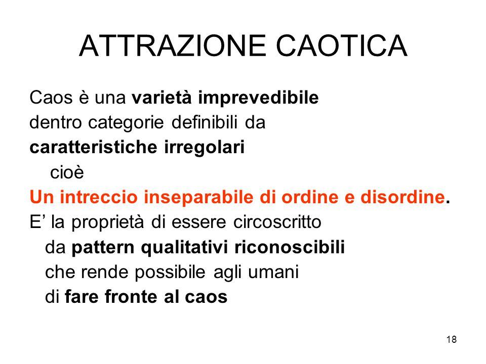 18 ATTRAZIONE CAOTICA Caos è una varietà imprevedibile dentro categorie definibili da caratteristiche irregolari cioè Un intreccio inseparabile di ord