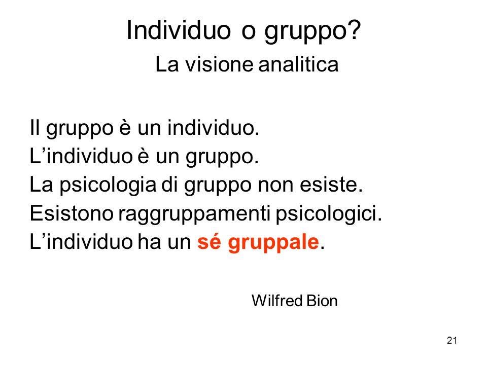 21 Individuo o gruppo? La visione analitica Il gruppo è un individuo. Lindividuo è un gruppo. La psicologia di gruppo non esiste. Esistono raggruppame