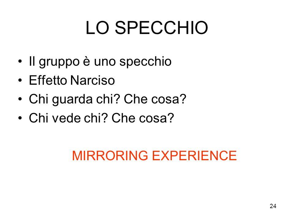 24 LO SPECCHIO Il gruppo è uno specchio Effetto Narciso Chi guarda chi? Che cosa? Chi vede chi? Che cosa? MIRRORING EXPERIENCE