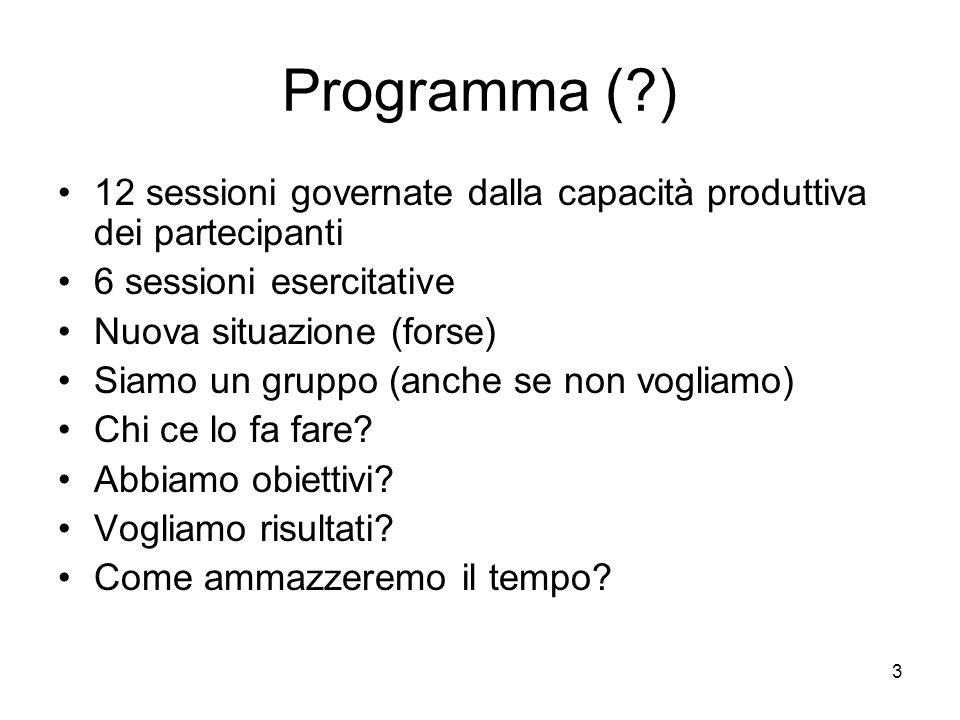 3 Programma (?) 12 sessioni governate dalla capacità produttiva dei partecipanti 6 sessioni esercitative Nuova situazione (forse) Siamo un gruppo (anc