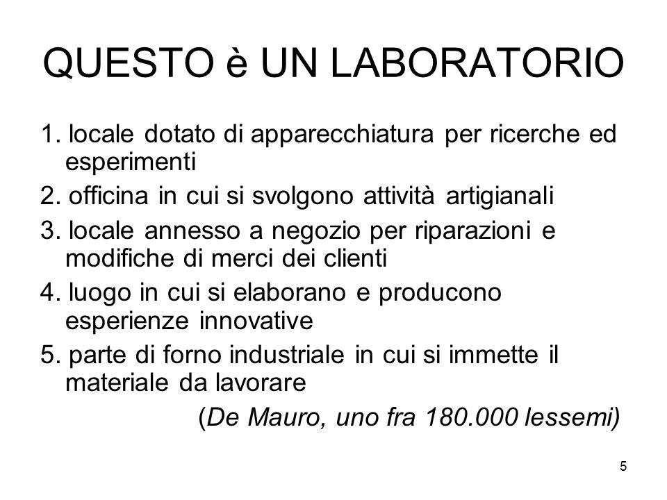 5 QUESTO è UN LABORATORIO 1. locale dotato di apparecchiatura per ricerche ed esperimenti 2. officina in cui si svolgono attività artigianali 3. local