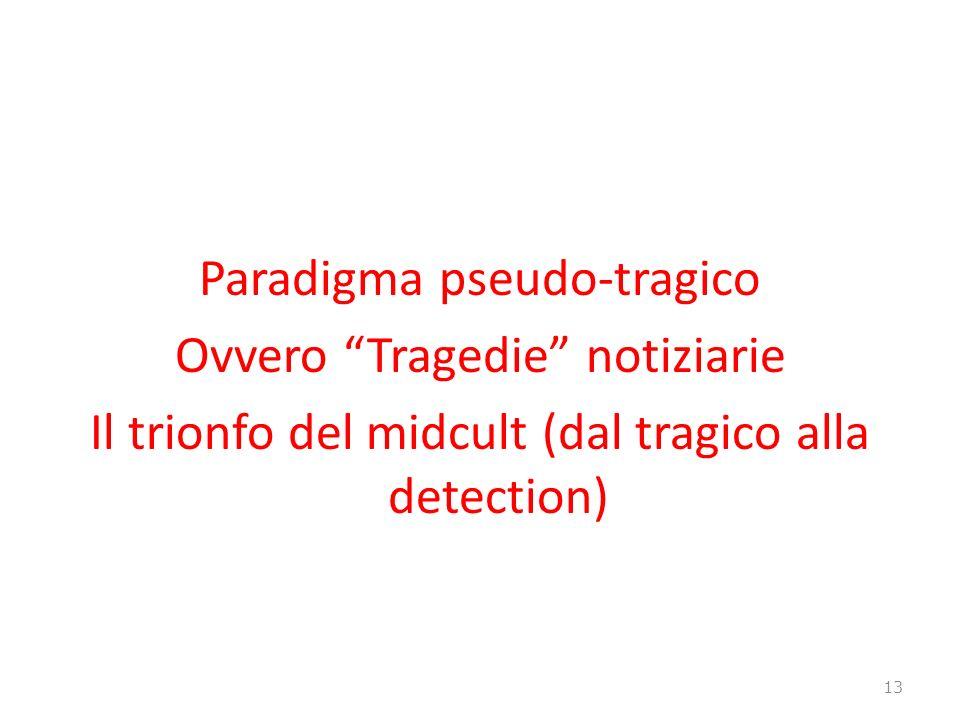 Paradigma pseudo-tragico Ovvero Tragedie notiziarie Il trionfo del midcult (dal tragico alla detection) 13