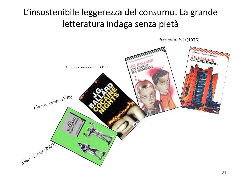 Linsostenibile leggerezza del consumo. La grande letteratura indaga senza pietà Il condominio (1975) Un gioco da bambini (1988) Cocaine nights (1996)