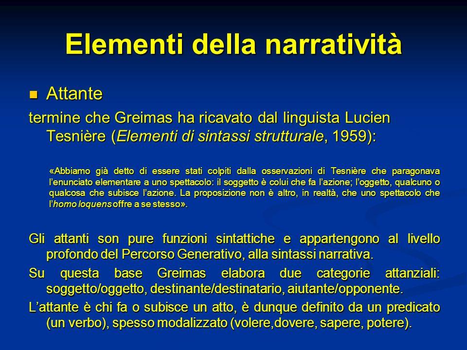 Elementi della narratività Attante Attante termine che Greimas ha ricavato dal linguista Lucien Tesnière (Elementi di sintassi strutturale, 1959): «Ab