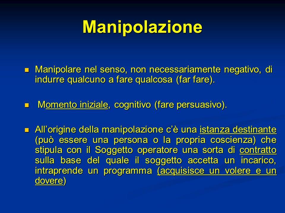 Manipolazione Manipolare nel senso, non necessariamente negativo, di indurre qualcuno a fare qualcosa (far fare). Manipolare nel senso, non necessaria
