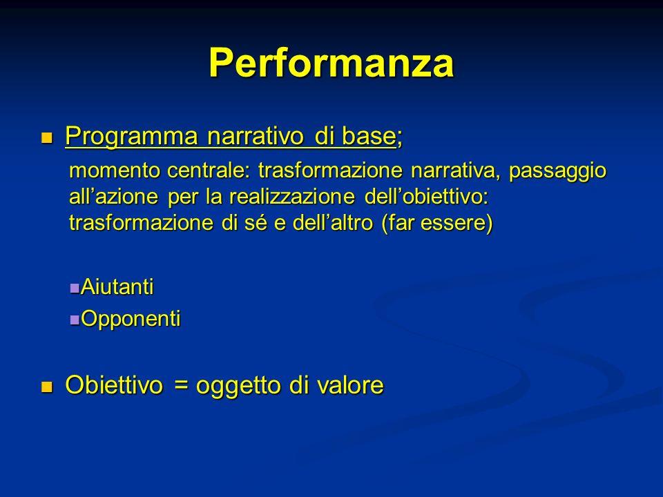 Performanza Programma narrativo di base; Programma narrativo di base; momento centrale: trasformazione narrativa, passaggio allazione per la realizzaz